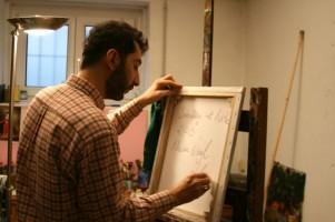 Nazim Unal Yilmaz in his studio