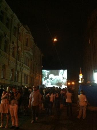 Open-air screening of silent films. Solyanka VPA Gallery
