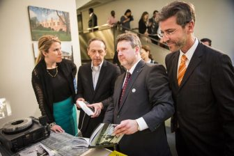 Andreas Stadler,Michael Ludwig (Vienna City Councillor for Housing, Housing Construction, and Urban Renewal), Wolfgang Förster and William Menking (curators) Photo by David Plakke Media NYC, davidplakke.com Courtesy of the ACFNY