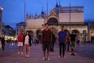 "Bouillon Group performing ""Religious Aerobics"" on San Marco Square. Photo Levan Maisuradze, Artarea TV"