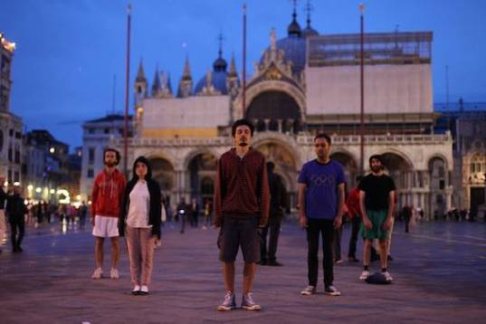 "Bouillon Group performing ""Religious Aerobics"" on San Marco Square. Photo Levan Maisuradze, Artarea TV"