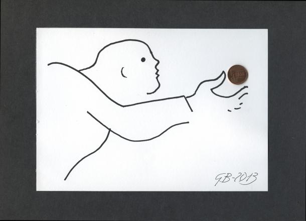 Geta Brătescu Dear Money, 2013 24,5x30 cm, drawing on paper, collage Copyright: the artist Photo credit: Ștefan Sava