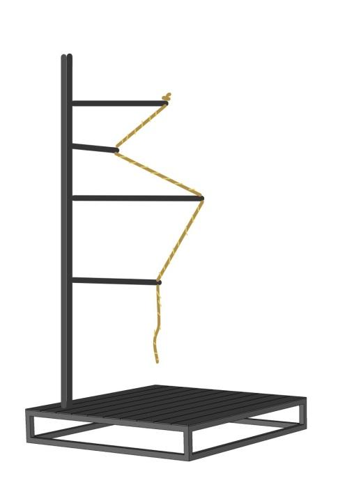 Valentin Ruhry, Untitled, 2013, metal, rope; ca. 90 x 90 x 200cm, ca.100 kg; Courtesy Christine König Galerie, Vienna
