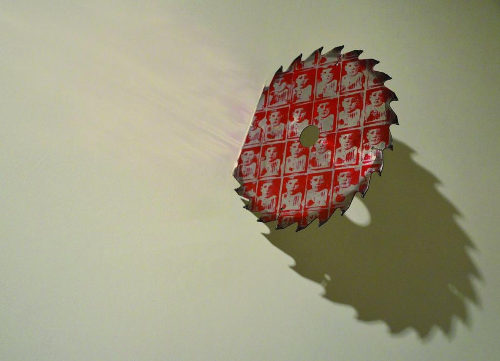 Valeriu Șchiau The Dream, 2013 linocut on saw blade Courtesy Experimental Project