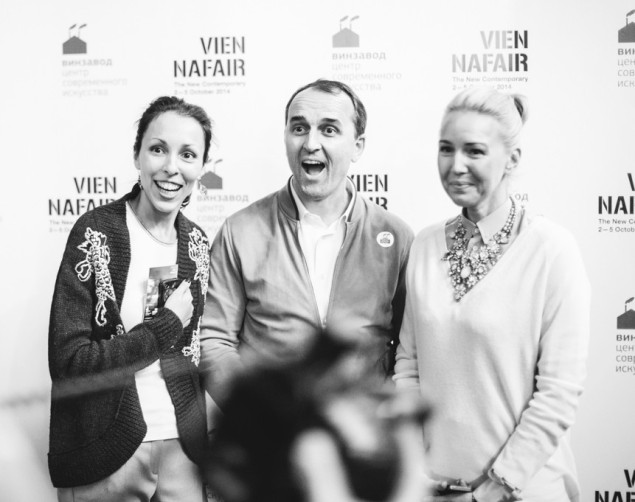 Sofia Trotsenko (Founder of Winzavod), Dmitry Aksenov ( main shareholder of VIENNAFAIR) and Julia Bordovskikh (TV - host)