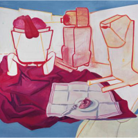 """Maria Lassnig, """"Breakfast with Ear"""", Safety Curtain, 2005/2006 Photo: Museum in progress"""