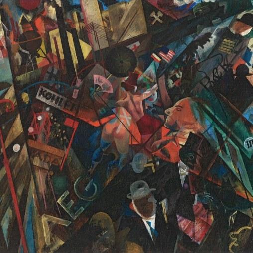 George Grosz Das Tempo der Straße, 1918 Öl auf Holz 63,8 x 78,2 cm © Privatsammlung, Courtesy Richard Nagy Ltd., London / © Bildrecht, Wien, 2014