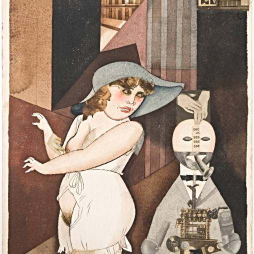 George Grosz Daum marries her pedantic automation George in May 1920. John Heartfield is very glad of it (Meta-Mech. Constr. nach Prof. R. Hausmann), 1920 Aquarell, Bleistift, Tuschfeder und Collage auf Aquarellkarton 42 x 30,3 cm © Berlinische Galerie, Berlin / © Bildrecht, Wien, 2014