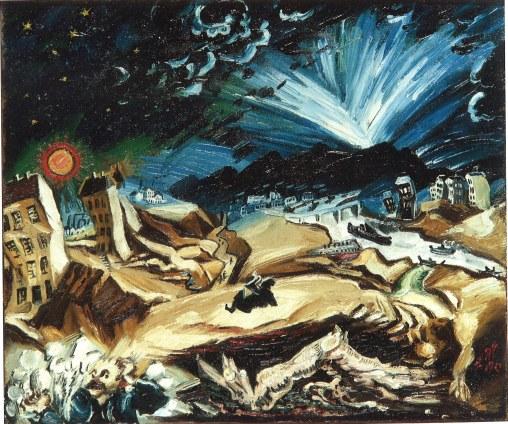 Ludwig Meidner Apokalyptische Landschaft, 1913 Öl auf Leinwand 67,3 x 80 cm © Privatsammlung, Courtesy Richard Nagy Ltd., London