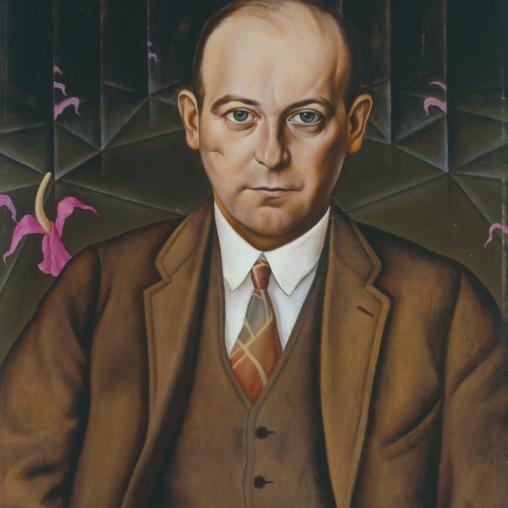 Christian Schad Porträt des Schriftstellers Ludwig Bäumer, 1927 Öl auf Holz 61 x 50 cm © Berlinische Galerie, Berlin / © Bildrecht, Wien, 2014