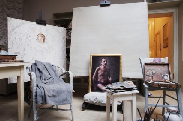 """D'après Giorgio"" at Casa Museo Giorgio de Chirico. Luigi Ontani, SenilSeminodo, 2012"