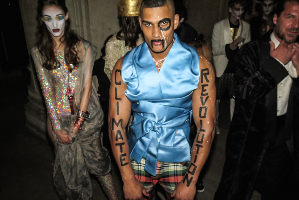 Rob Evans showing some muscle for the Climate Revolution of Vivienne Westwood