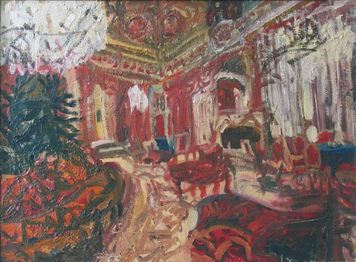 Ioana Bătrânus Melancholic Interior (The Revolutionary Saloon), 1996 Oil on wooden panel 114 x 153 cm Courtesy the artist and Plan B, Cluj/Berlin