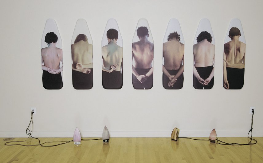 Irina Nakhova, Installation Ironing Boards 2001 Inkjet prints on fabric, boards, four irons with inkjet on adhesive vinyl installation view