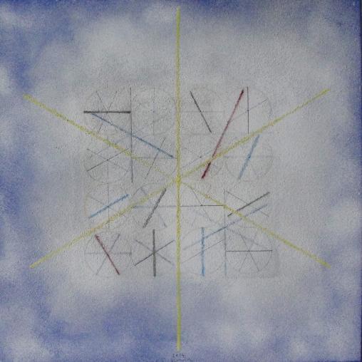Constantin Flondor Fulg de nea VI (Snowflake), 2014 Oil, flour powder, colour pencil on canvas 70 x 70 x 5 cm Courtesy Jecza Gallery, Timisoara