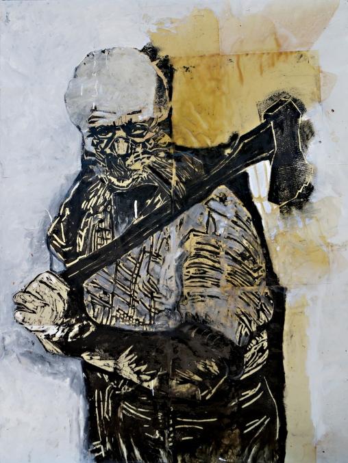 Lena Göbel, Enthusiasmo, 2014, Holzschnitt; Öl, Lack, Papier auf Leinwand / woodcut; oil, lacquer, paper on canvas, 200 x 150 cm, Foto & © Lena Göbel