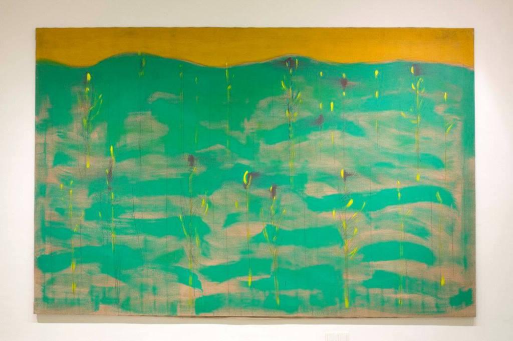 Oswald Oberhuber, Landschaft, 1971, Öl auf Leinwand, 190 x 290 cm