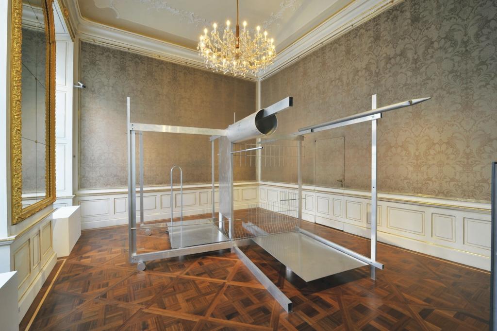 """Michael Kienzer, Vierung, 2014/15 Exhibition view """"Vienna for Art's Sake!"""" Aluminum, steel 246 x 314 x 400 cm © Michael Kienzer, Photo: Wolfgang Woessner, © Belvedere, Vienna"""