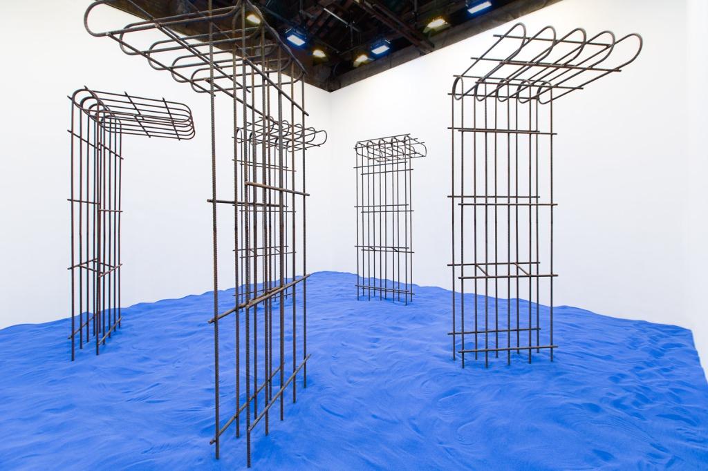 Pavilion of The Republic of Kosovo  56th La Biennale di Venezia  Speculating on the Blue Flaka Haliti 2015 Sand, Metal, Light Photo Credit: Marc Krause Courtesy of the Artist and LambdaLambdaLambda