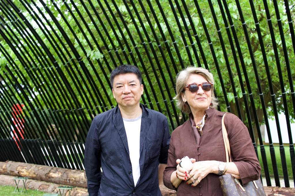 """""""I don't know if I need to write down that I exist. I exist in seeing in talking and meeting people"""" — Dr. Ursula Schwitalla, Art Historian from Germany. On the picture with the artist Liu Jiakun, who's installation we discussed."""