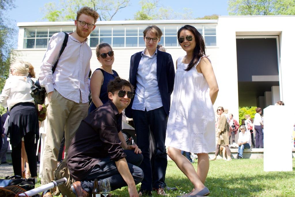 """We are just having fun here"" — Chris(artist), Carlotta (psychology graduate , Rudi, Lorenz (neuroscientist) and Han (business student) from Germany"