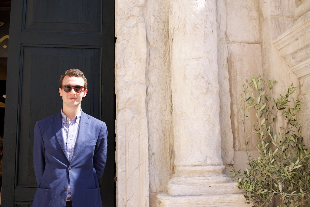 """""""One thing I learned: men leave the shoes on the right side and women on the left. """"  — Kean Hughes, Associate Director at Hauser and Wirth from London outside  The first Mosque in the city of Venice. The Mosque is the official national pavilion of Iceland at the biennale."""