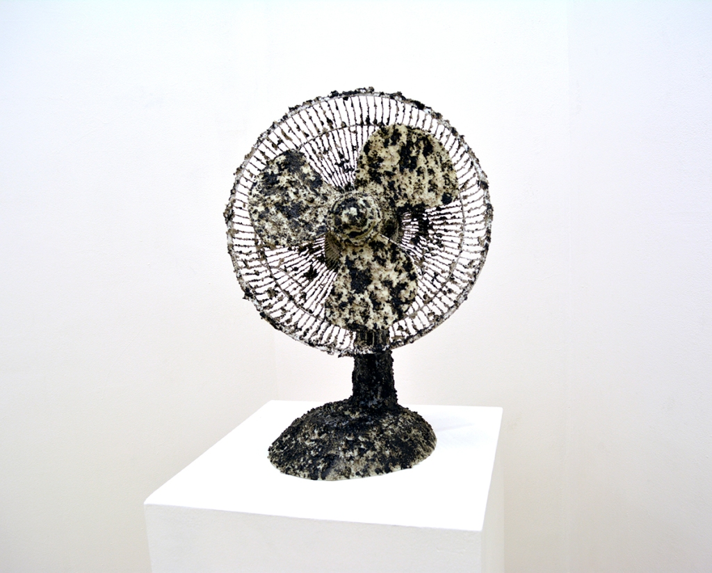 Julian Lorber, Pelican, 2015, desk fan, acrylic paint and gel,