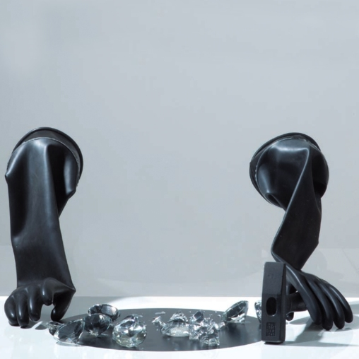 Eckart Hahn, The Longing 2, plexiglass, MDF, latex, glass, hammer, 2010, Galerie Rothamel, photocredit: courtesy of the artist