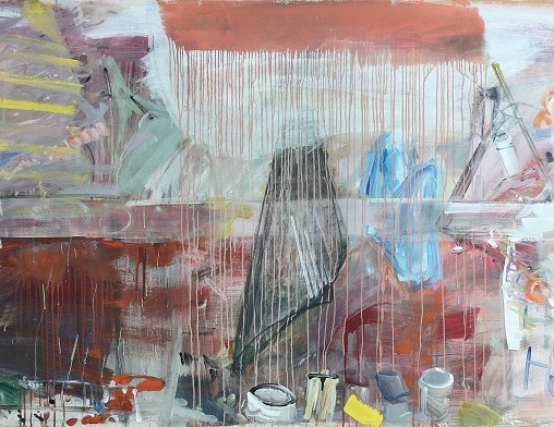Gheorghe Ilea, Sodium Wagon, mixed technique on canvas, 120 x 200 cm, 1987, Galeria Plan B, photocredit: courtesy of the gallery