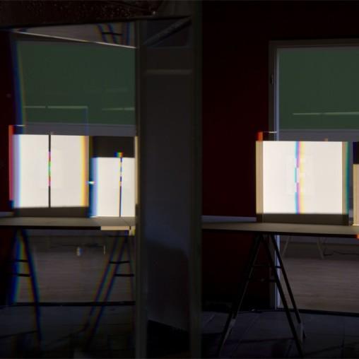 Ingo Nussbaumer, Virtual Colour Tubes, Light, Fragmentation, Restitution, Museum of Fine Arts, Budapest, 2011, photocredit: courtesy of the artist