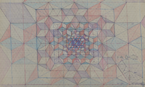 Liviu Stoicoviciu, Project for Diamond √ ̅3 46 x 68cm, ball point pen, coloured pencils on paper, Jecza Gallery, 1979, photocredit: courtesy of the gallery