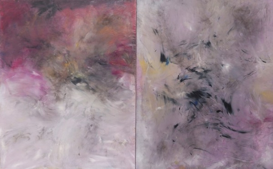 Ivan Grubanov, Evil #8 (diptych), oil and smoke on linen, 200cm x 320cm, 2012, Galerie Loock, photocredit: courtesy of the gallery