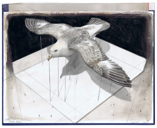 Gideon Kiefer, The Warning, 22,5 cm – 28,5 cm Pencil, gouache and indian ink on a book cover, Courtesy Geukens & De Vil/ Gideon Kiefer