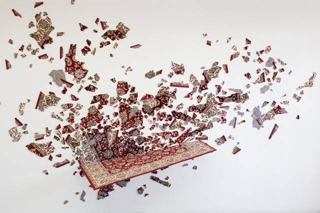 Fairy Tale Device Crashed, 2013 Installation, cut carpet, hidden aluminium construction 275 x 420 x 88.5 cm Collection- Vehbi Koç Foundation