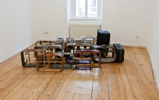 Pravdoliub Ivanov,Loaded, 2010 installation, suitcases, intervention dimensions variable, Dana Charkasi Gallery, Vienna Collection The Tiroche DeLeon Collection & Art Vantage