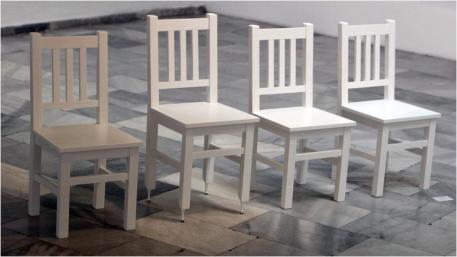 Zara Alexandrova, With Selfconfidence. 2014, 4 chairs, 4 heels, 100x60x280cm. Photo: Zoran Georgiev
