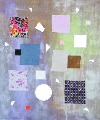 TJORG DOUGLAS BEER Itchycoo Park #31 2015, broken mirrors, fabric, oil paint, acrylic paint on raw linen, 120 cm x 100 cm, Courtesy Galerie Clemens Gunzer Zurich / Produzentengalerie Hamburg