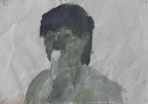 Alketa Ramaj, The Boy, 2013, acrylic on paper, 15 x 21cm, courtesy of TAL