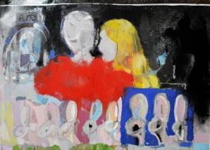 Aurora Kalemi, The Kiss, 2016, oil, spray-paint, aluminum on canvas, 100 x 140 cm, courtesy of TAL