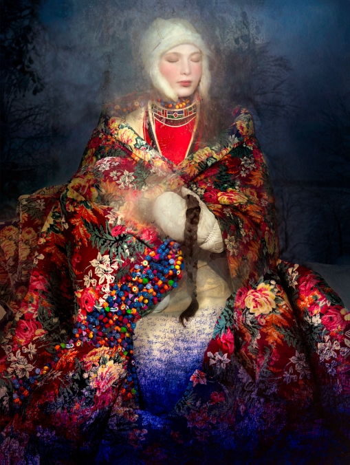 CHRISTIAN LARSEN GALLERY COOPER & GORFER Aana and the Flower Mantle, 2016 Archival pigment print 110 x 83 cm © Courtesy of Christian Larsen Gallery