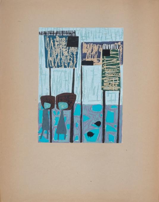 Anna Jarnuszkiewicz, Untitled (Dovecotes), 1958, mixed media on paper, 32 x 23 cm, © Anna Jarnuszkiewicz, courtesy of Pola Magnetyczne