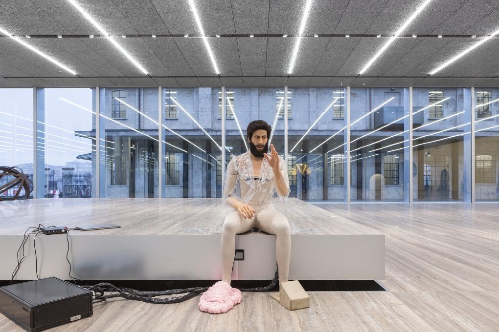 Goshka Macuga, To the Son of Man Who Ate the Scroll, 2016, Installation view at Fondazione Prada, Milan, 2016, Photo: Delfino Sisto Legnani Studio, Courtesy Fondazione Prada