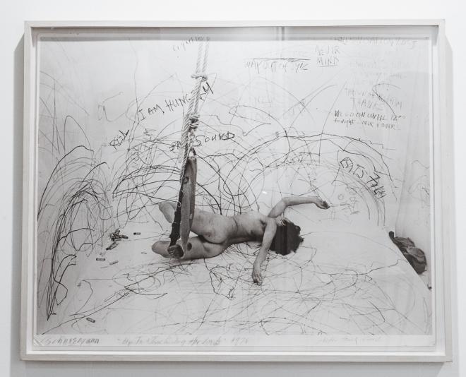 Carolee Schneemann (photo of performance), at Gallery Konzett, photo (c) viennacontemporary / Alexander Murashkin
