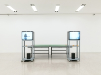 Ausstellungsansicht / Installation view Ernst Caramelle. Ein Résumé / A Résumé, mumok, 30.11.2018–28.4.2018 Video-Ping-Pong, 1974, Courtesy Sammlung Generali Foundation / Generali Foundation Collection Photo: Klaus Pichler © mumok