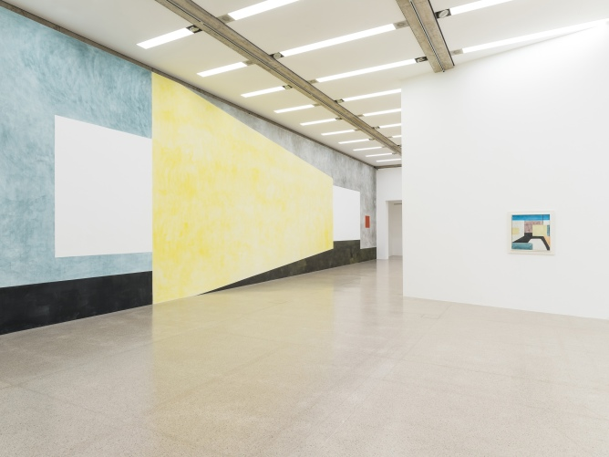Ausstellungsansicht / Installation view Ernst Caramelle. Ein Résumé / A Résumé, mumok, 30.11.2018–28.4.2018 Wandmalerei / Wallpainting: O.T. (Untitled), 2018, Pigmente, Wasser auf Wand / Pigments, water on wall Photo: Klaus Pichler © mumok