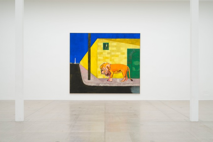 Peter Doig, Lion (Fire Down Below), 2019, installation view Secession 2019 © Peter Doig / Bildrecht Vienna, 2019, Courtesy the artist and Michael Werner Gallery, New York and London, photo: Hannes Böck