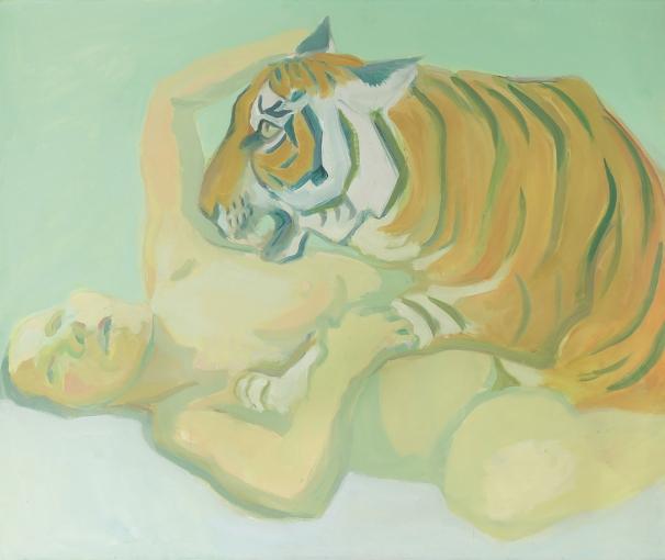 Image: Maria Lassnig Mit einem Tiger schlafen, 1975 Albertina, Wien – Dauerleihgabe der Oesterreichischen Nationalbank © Maria Lassnig Stiftung